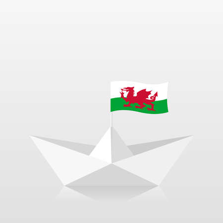 Paper boat with wales flag