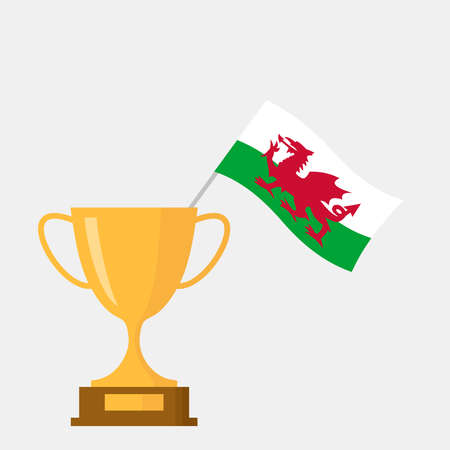 Wales flag and golden trophy cup icon