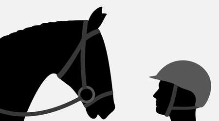 silhouettes of jockey and horse