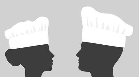 Young people in chef hats Stock Illustratie