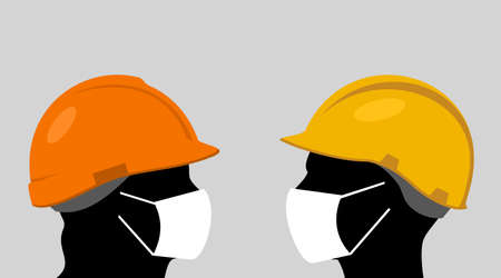 People with hardhats and face masks Stock Illustratie