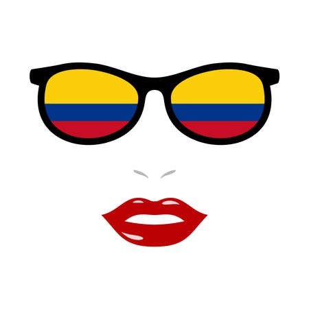 Woman lips and eyeglasses with colombia flag