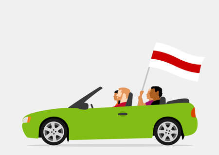 People in car with belarus white-red-white flag Ilustracja