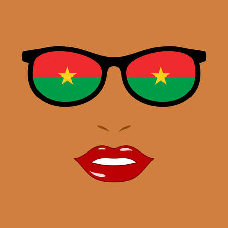 African woman and eyeglasses with burkina faso flag 向量圖像