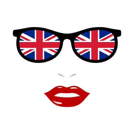 Woman lips and sunglasses with uk flag