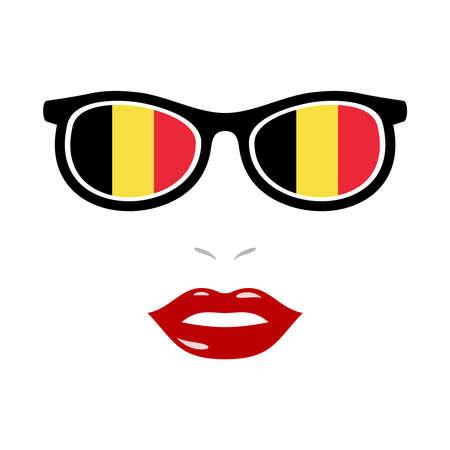 Woman lips and eyeglasses with belgium flag 版權商用圖片 - 159808152