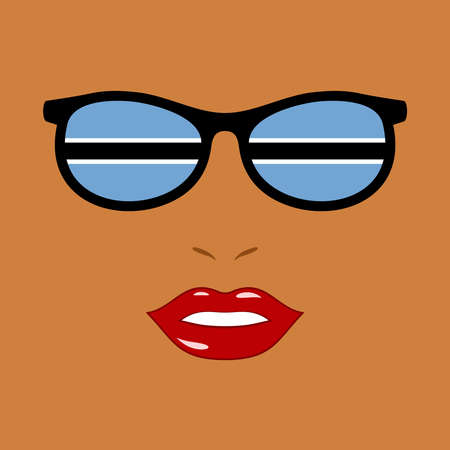 African woman and eyeglasses with botswana flag