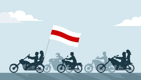 Bikers on motorcycles with belarus white-red-white flag