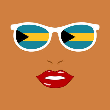 African-american woman lips and eyeglasses with bahamas flag