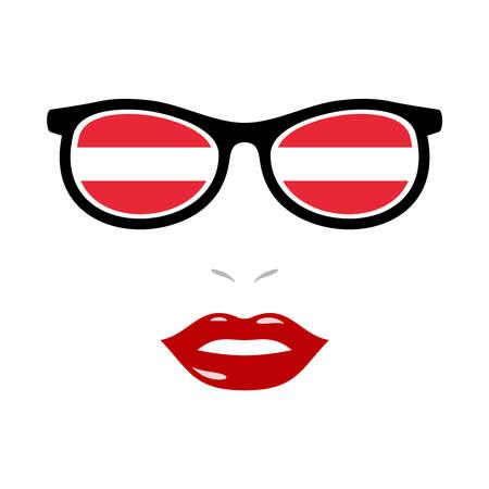 Woman lips and eyeglasses with austrian flag 版權商用圖片 - 159808158