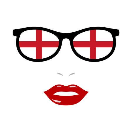 Woman lips and eyeglasses with england flag 向量圖像