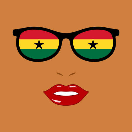 African woman and eyeglasses with ghana flag