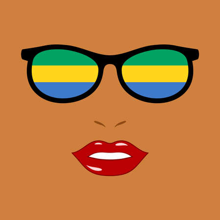 African woman and eyeglasses with gabon flag 向量圖像
