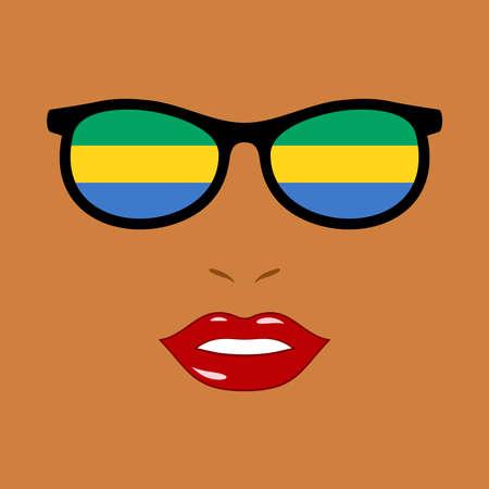 African woman and eyeglasses with gabon flag 版權商用圖片 - 159808162