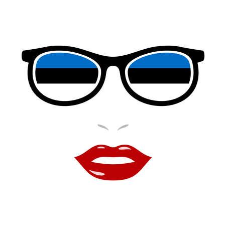 Woman lips and eyeglasses with estonia flag