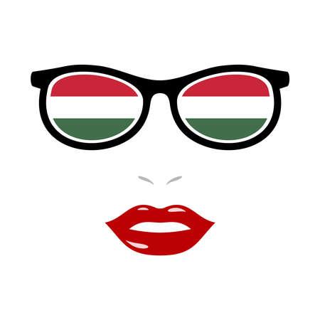 Woman lips and eyeglasses with hungary flag 向量圖像