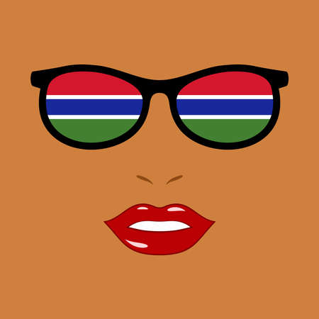 African woman and eyeglasses with gambia flag 向量圖像