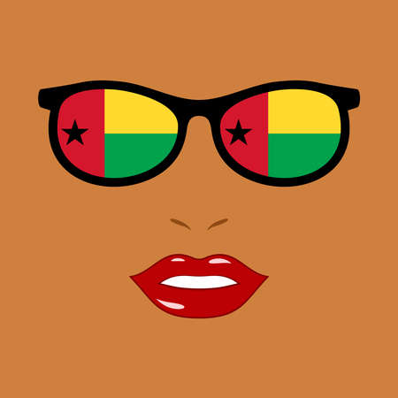 African woman and sunglasses with guinea-bissau flag