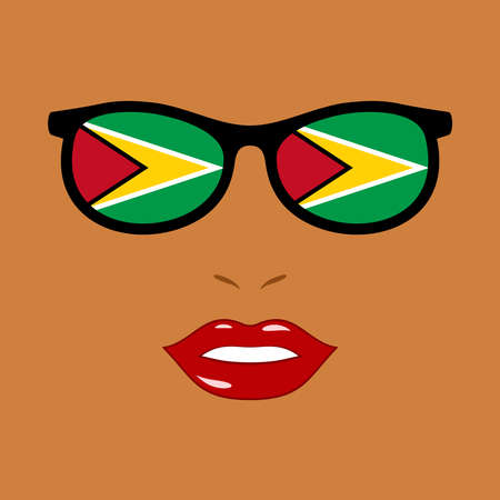 African-american woman and eyeglasses with guyana flag 向量圖像