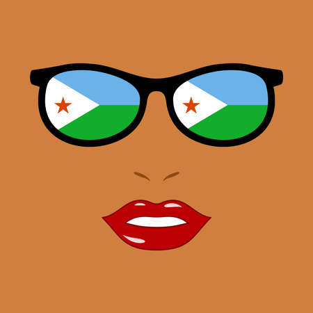 African woman and eyeglasses with djibouti flag