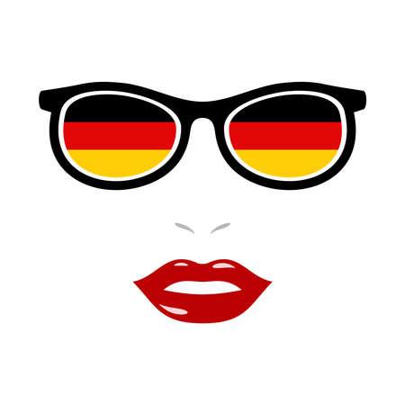 Woman lips and eyeglasses with german flag