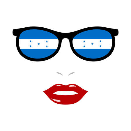 Woman lips and eyeglasses with honduras flag 版權商用圖片 - 159808173