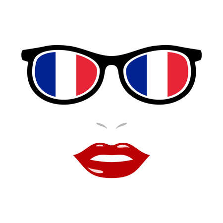 Woman lips and eyeglasses with france flag 版權商用圖片 - 159808174