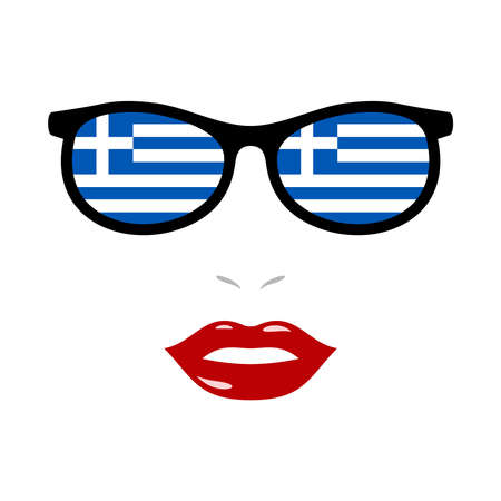 Woman lips and sunglasses with greece flag