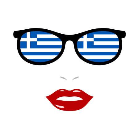 Woman lips and sunglasses with greece flag 版權商用圖片 - 159808175