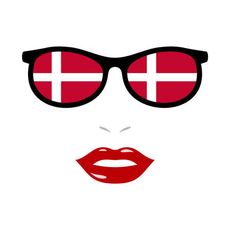 Woman lips and eyeglasses with denmark flag 向量圖像