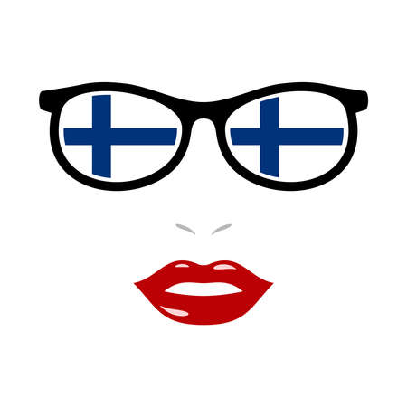 Woman lips and eyeglasses with finland flag