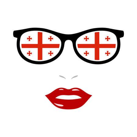 Woman lips and eyeglasses with georgia flag
