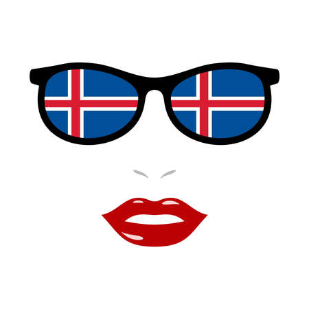 Woman lips and eyeglasses with iceland flag 向量圖像