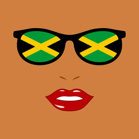 African-american woman and sunglasses with jamaica flag