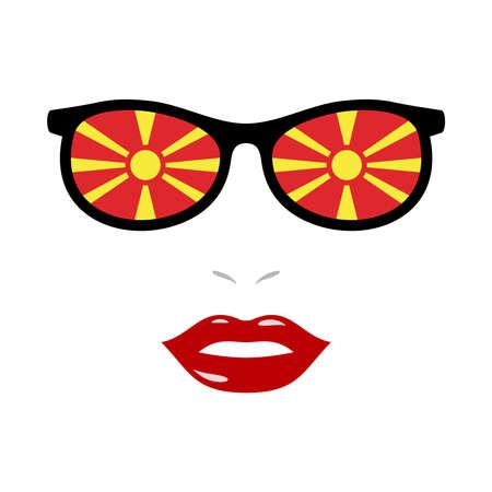 Woman lips and sunglasses with macedonia flag 版權商用圖片 - 159808182