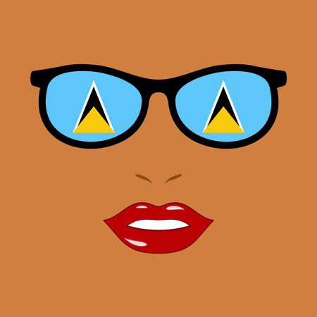 African-american woman and eyeglasses with saint lucia flag 版權商用圖片 - 159808184