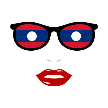 Woman lips and eyeglasses with laos flag 向量圖像