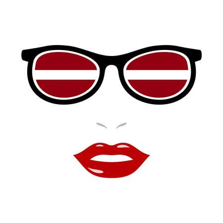 Woman lips and eyeglasses with latvia flag