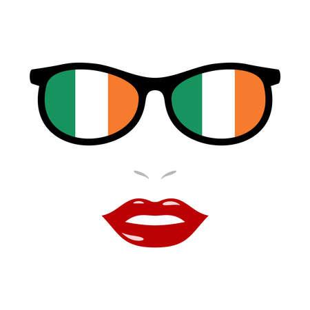 Woman lips and eyeglasses with ireland flag 向量圖像