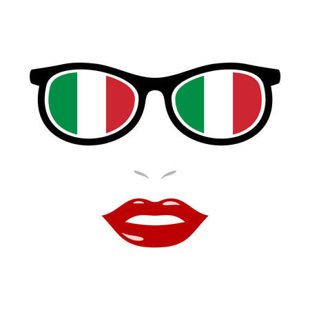 Woman lips and eyeglasses with italy flag
