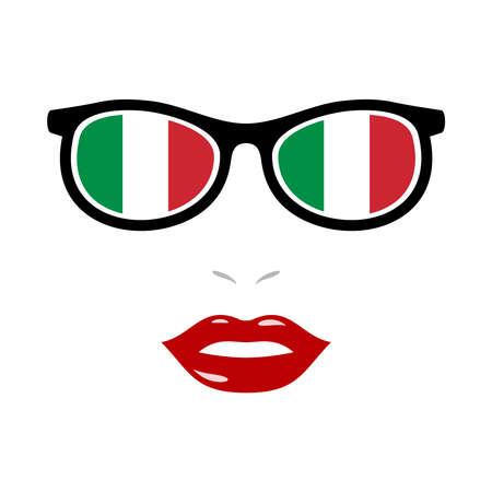 Woman lips and eyeglasses with italy flag 版權商用圖片 - 159808188