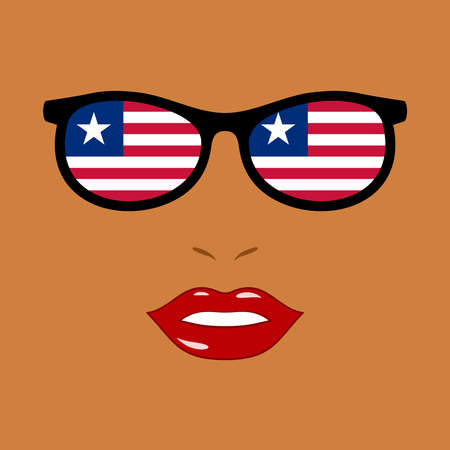 African woman and eyeglasses with liberian flag