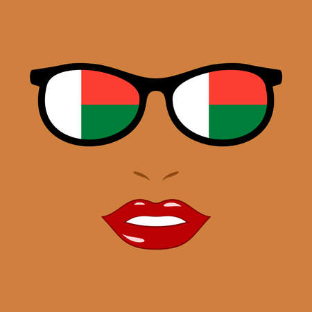 African woman and eyeglasses with madagascar flag 版權商用圖片 - 159808191