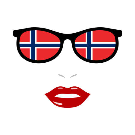 Woman lips and eyeglasses with norway flag 版權商用圖片 - 159808192