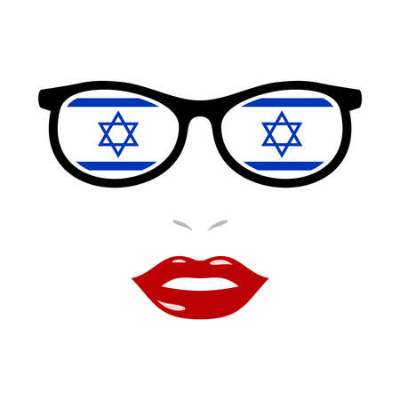 Woman lips and eyeglasses with israel flag