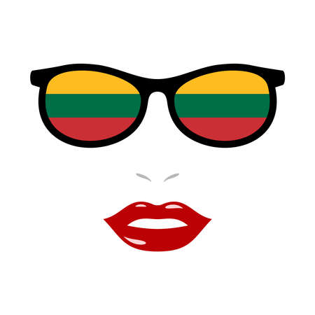 Woman lips and eyeglasses with lithuania flag
