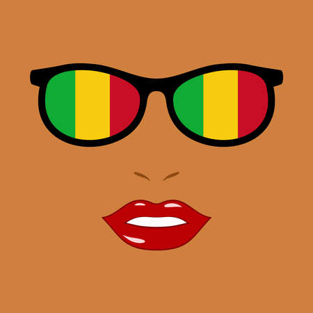 African woman and sunglasses with mali flag