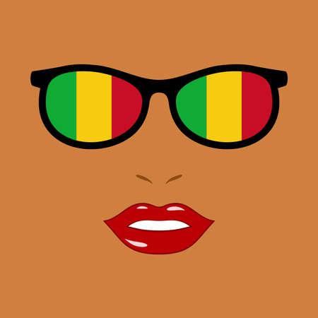 African woman and sunglasses with mali flag 版權商用圖片 - 159808195