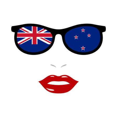 Woman lips and sunglasses with new zealand flag 向量圖像