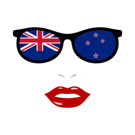 Woman lips and sunglasses with new zealand flag 版權商用圖片 - 159808196